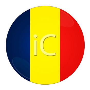 Abstract illustration: button with flag from Romania country