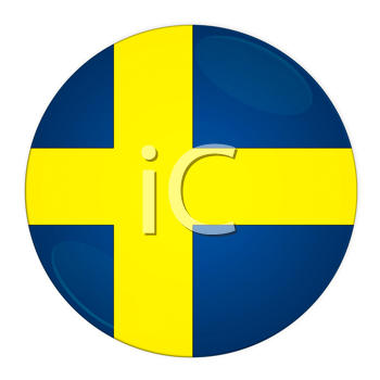 Abstract illustration: button with flag from Sweden country