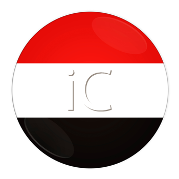 Abstract illustration: button with flag from Yemen country