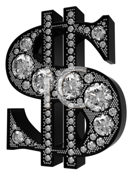Royalty Free Clipart Image of a 3D Silver Dollar Symbol