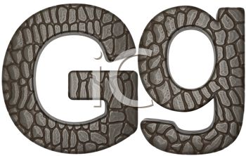 Royalty Free Clipart Image of Alligator Skin Font G Lowercase and Capital Letters