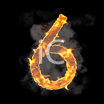 Royalty Free Clipart Image of a Burning Number Six