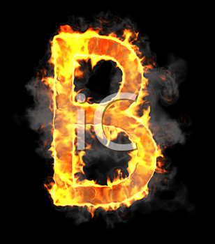 Royalty Free Clipart Image of a Burning Letter B