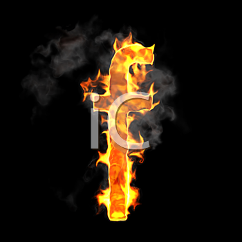 Royalty Free Clipart Image of a Burning Letter F