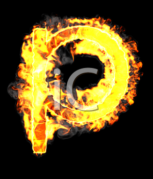 Royalty Free Clipart Image of a Burning Letter P