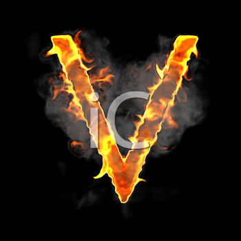 Royalty Free Clipart Image of a Burning Letter V