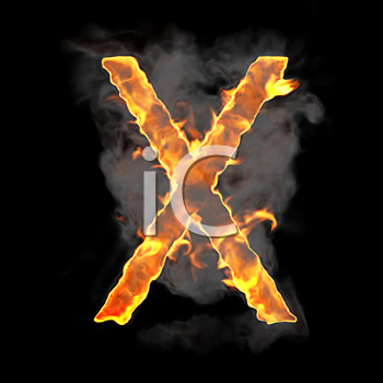 Royalty Free Clipart Image of a Burning Letter X