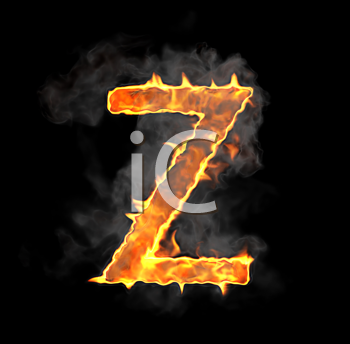 Royalty Free Clipart Image of a Burning Letter Z
