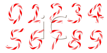 Royalty Free Clipart Image of Candy Cane Numbers
