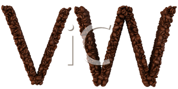 Royalty Free Clipart Image of Roasted Coffee Font V and W