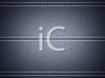 Royalty Free Clipart Image of a Dark Blue Stitched Leather Background