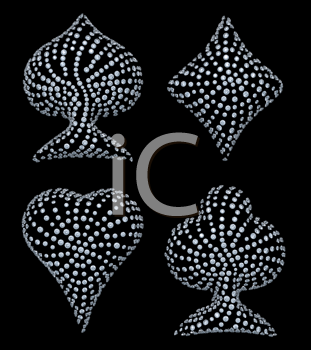 Royalty Free Clipart Image of Diamond Incrusted Card Suits