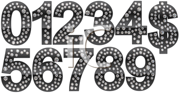Royalty Free Clipart Image of Silver Numbers Incrusted With Diamonds