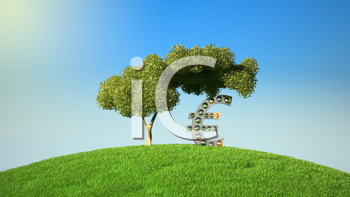 Royalty Free Clipart Image of a Euro Symbol Under a Tree