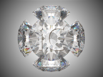 Royalty Free Clipart Image of Five Brilliant Cut Diamonds