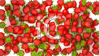 Royalty Free Clipart Image of a Background of Strawberries