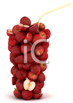 Royalty Free Clipart Image of a Glass Made of Apples
