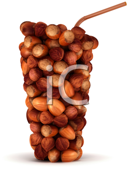 Royalty Free Clipart Image of a Glass Shape of Hazelnuts