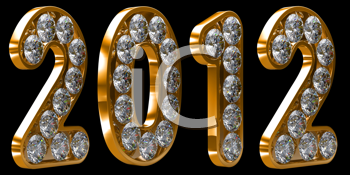 Royalty Free Clipart Image of 2012 Golden Incrusted With Diamonds
