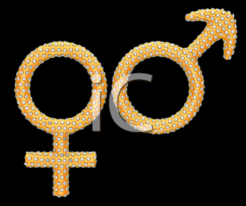 Royalty Free Clipart Image of Golden Gender Symbols Incrusted With Gems