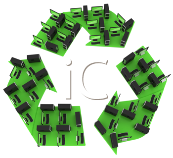 Royalty Free Clipart Image of Computers Forming the Recycling Symbol