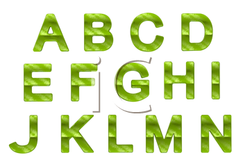 Royalty Free Clipart Image of Green Letters A to N
