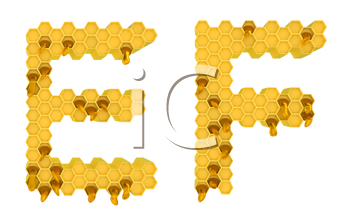 Royalty Free Clipart Image of the Letters E and F in Honey