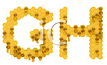 Royalty Free Clipart Image of the Letters G and H in Honey