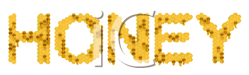 Royalty Free Clipart Image of Honey Spelled Out in Honeycombs