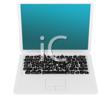 Royalty Free Clipart Image of a Damaged Laptop
