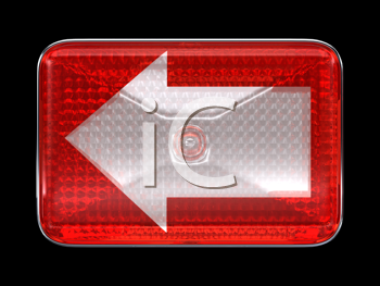 Royalty Free Clipart Image of a Red Headlight With an Arrow