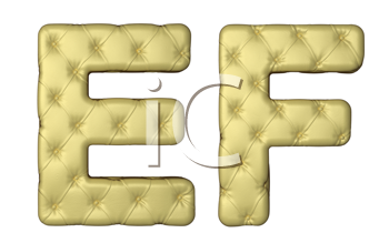 Royalty Free Clipart Image of Beige Leather Font of E and F