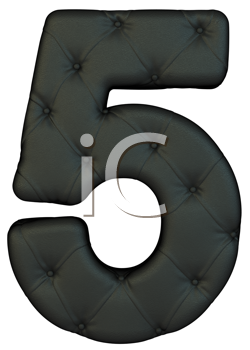 Royalty Free Clipart Image of a Black Leather Number Five
