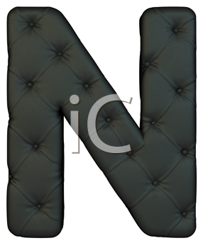 Royalty Free Clipart Image of a Black Leather Font N