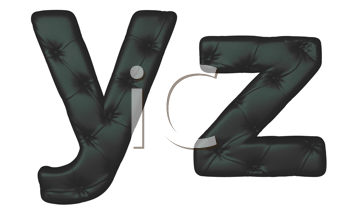 Royalty Free Clipart Image of a Black Leather Font Y and Z