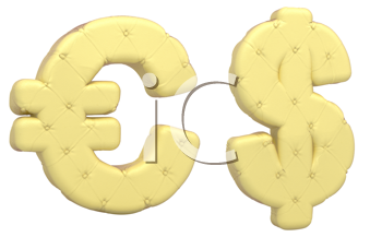 Royalty Free Clipart Image of Beige Leather Dollar Signs
