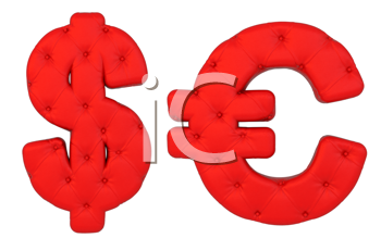 Royalty Free Clipart Image of Red Leather Dollar Signs