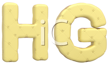 Royalty Free Clipart Image of Beige Leather Font of H and G
