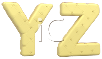 Royalty Free Clipart Image of Beige Leather Font of Y and Z