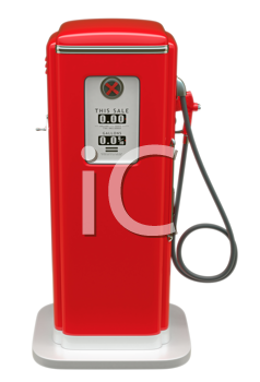 Royalty Free Clipart Image of a Vintage Red Fuel Pump