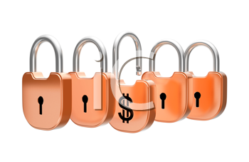 Royalty Free Clipart Image of Padlocks