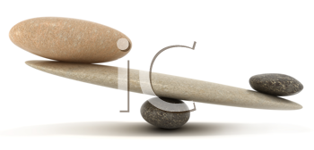 Royalty Free Clipart Image of Pebbles on a Scale