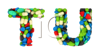 Royalty Free Clipart Image of Pharmaceutical Font T and U