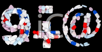 Royalty Free Clipart Image of Pharmaceutical Numerals and Symbols