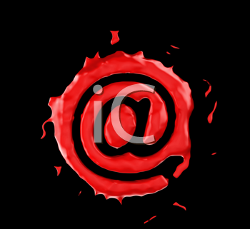 Royalty Free Clipart Image of an At Symbol in Red Paint