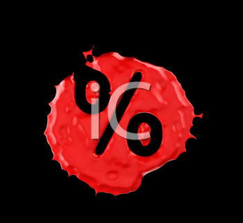 Royalty Free Clipart Image of an Percent Sign in Red Paint