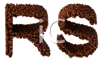 Royalty Free Clipart Image of Roasted Coffee Font R and S