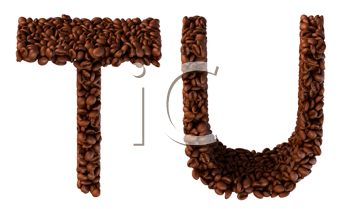 Royalty Free Clipart Image of Roasted Coffee Font T and U