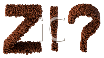 Royalty Free Clipart Image of Roasted Coffee Font Z and Symbols