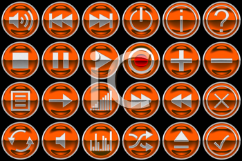 Royalty Free Clipart Image of Orange Control Panel Buttons
